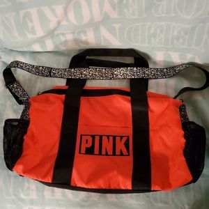 VS PINK Gym/Duffle Bag Red&Black With Print & Mesh